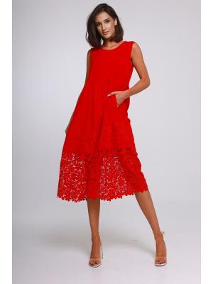 Платье-миди с кружевной каймой J-5003-r