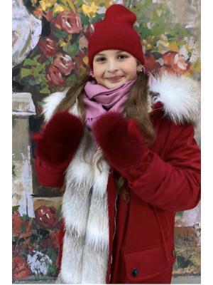 Зимние варежки с натуральным мехом J9318-red