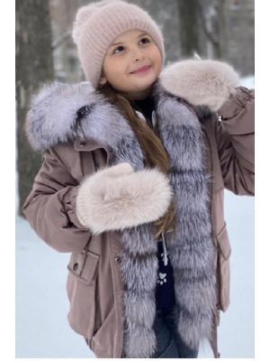 Зимние варежки с натуральным мехом J9318bej
