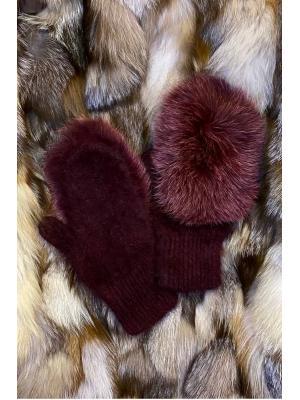 Зимние варежки с натуральным мехом J9318-burgundi