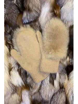 Зимние варежки с натуральным мехом J9318-medovyy