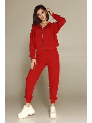 Женский костюм с капюшоном (Худи, брюки) Jolie 198-red