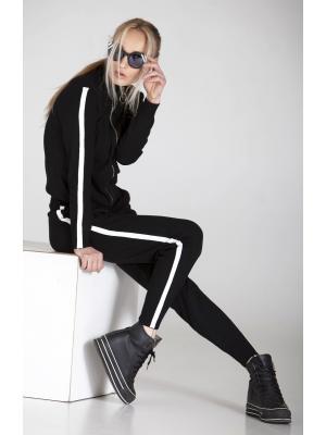 Женский костюм черного цвета с белыми лампасами PPT H-9016