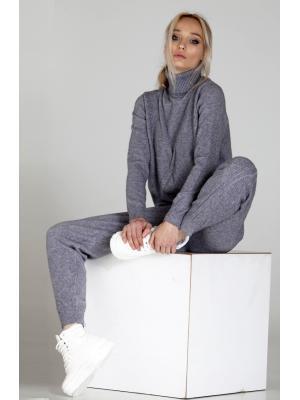 Женский костюм с вязаным геометрическим рисунком (Свитер, брюки) Melody-6007- grey