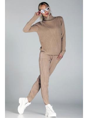 Женский костюм с вязаным геометрическим рисунком, горчичный (Свитер, брюки) Melody-6007- beige