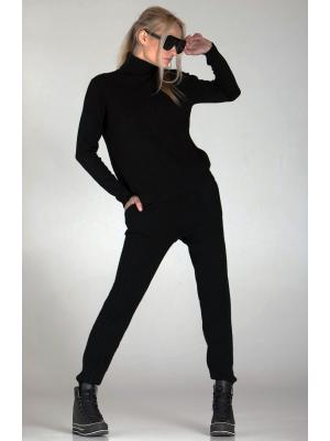 Женский костюм с вязаным геометрическим рисунком (Свитер, брюки) Melody-6007- black