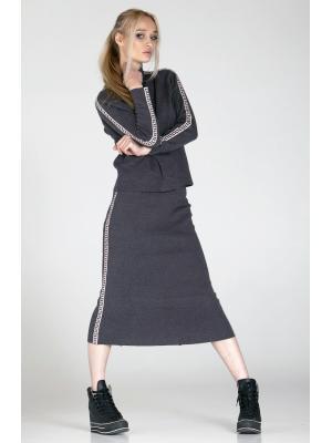 Женский костюм (Свитер, юбка) с лампасами B352AB