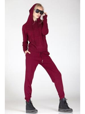 Женский костюм с капюшоном (Худи, брюки) PPT H-9236 wine