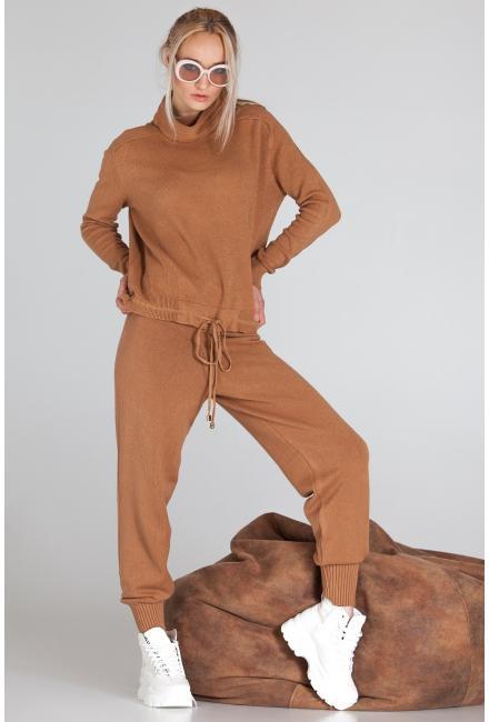 Женский костюм (Свитшот, брюки) Finery-933-brown