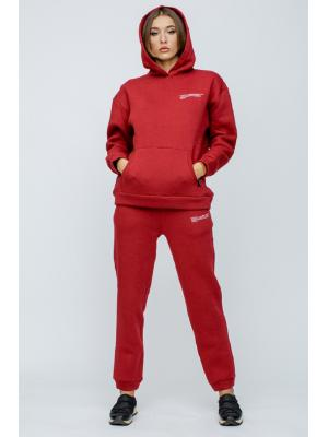 Женский костюм с капюшоном (Худи, брюки) Jolie 5941-red