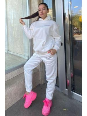 Женский костюм с капюшоном (Худи, брюки) Jolie 5941 white