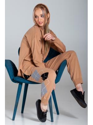 Женский костюм (Худи, брюки) с геометрическим узором Kontatto-1956
