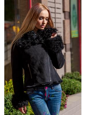 Короткая черная куртка-дубленка из меха козы QB1801-2276-k