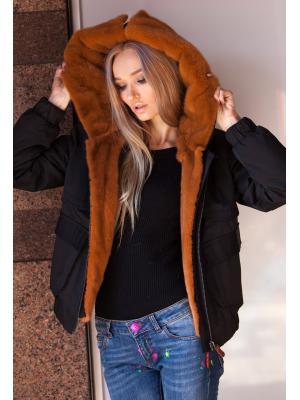 Короткая куртка авто-леди с терракотовым мехом норки 5354-16