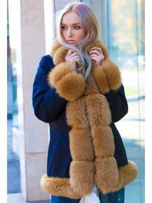Черная удлиненная куртка без капюшона, с мехом рыжей лисы