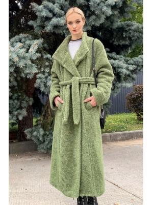 Зимнее удлиненное пальто-шубка из итальянской шерсти с поясом, зеленое M-524-g