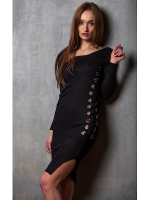 Платье трикотажное с серебристым декором и шнуровкой H0612N