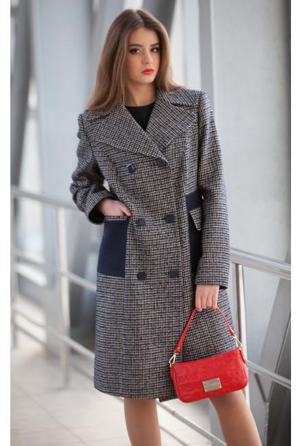 Пальто демисезонное, двубортное, с контрастными вставками m-539