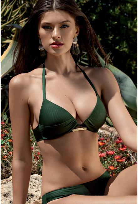 Лиф от купальника темно-зеленый с плотной, треугольной чашкой Push-up Lisca 40333 BARI-z