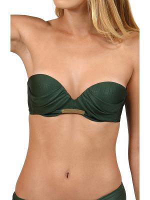 Бюстгальтер темно-зеленый с плотной, задрапированной чашкой и золотистым декором Lisca 40334 BARI-z