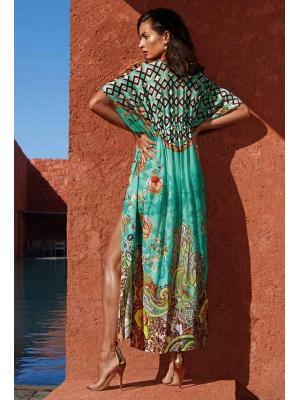 Туника Maryan Mehlhorn с кулиской под грудью,  длинная с орнаментом 3900