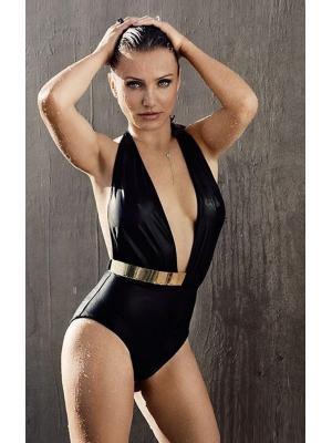 Слитный купальник c золотистым пояском MOEVA LONDON Bridget 0002-black