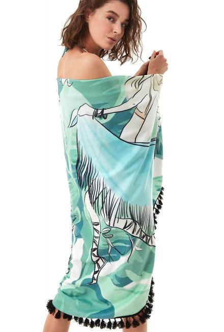Пляжный круглый коврик-полотенце MOEVA LONDON Summer-green