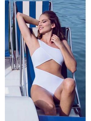 Слитный купальник на одно плечо c прозрачным сегментом из тонкой трикотажной сетки Nicole Olivier PARFUM blanc