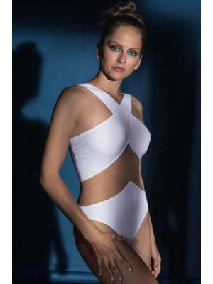 Слитный купальник c прозрачным сегментом из тонкой сетки Nicole Olivier Tamarin blanc