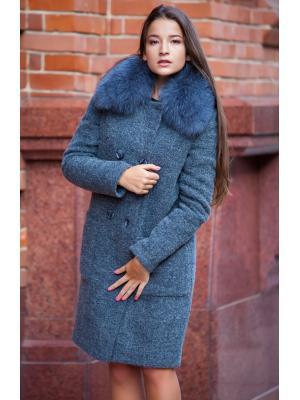 Утепленное пальто с песцовым воротником M543t