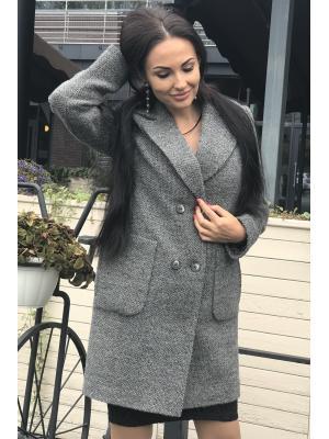 Пальто демисезонное, двубортное, с накладными карманами m-746-s