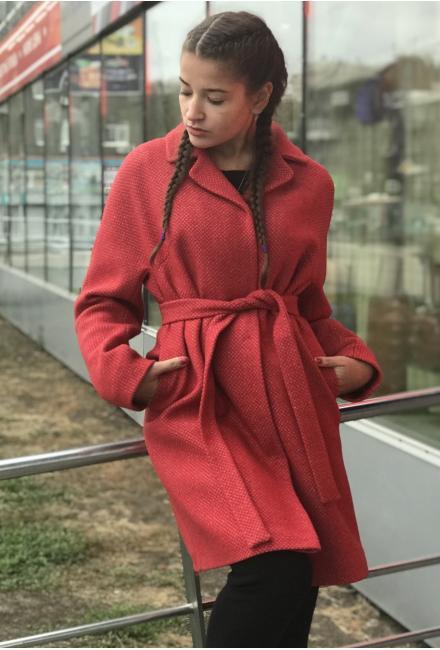 Пальто демисезонное с поясом 537