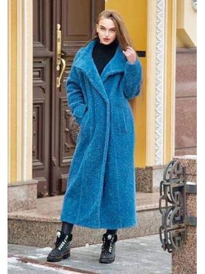 Зимнее удлиненное пальто-шубка из итальянской шерсти с поясом, синее M-524