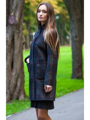 Демисезонное пальто в крупную клетку, со стойкой и накладными карманами M-530-kl-z