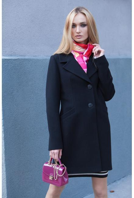 Пальто демисезонное на пуговицах и потайных кнопках, со скошенными карманами M575