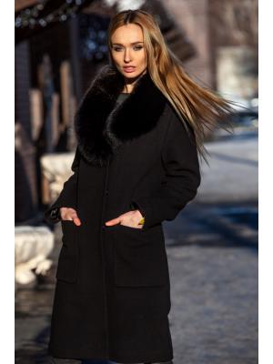 Зимнее пальто с меховым воротником m-520