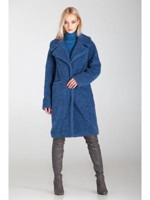 Зимнее пальто-шубка из итальянской шерсти синее M-594