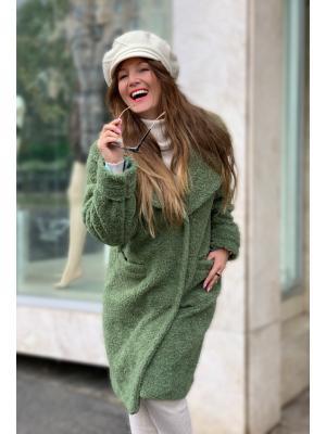 Зимнее пальто-шубка из итальянской шерсти зеленое M-594-g