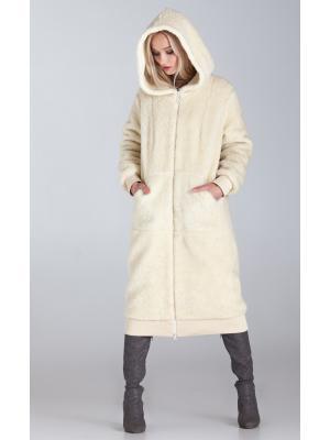 Зимнее удлиненное пальто-шубка из итальянской шерсти с манжетами, молочное M-786-m