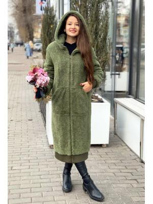 Зимнее удлиненное пальто-шубка из итальянской шерсти с манжетами, зеленое M-786-z