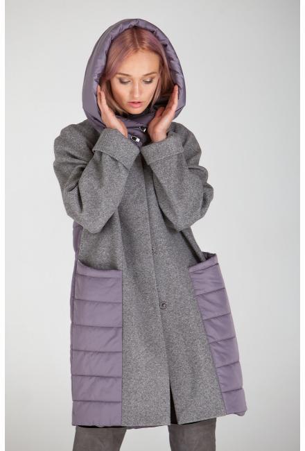 Демисезонное пальто с капюшоном Lari 23-grey