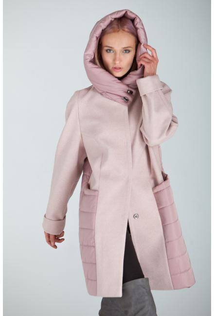 Демисезонное пальто с капюшоном Lari 23-pink