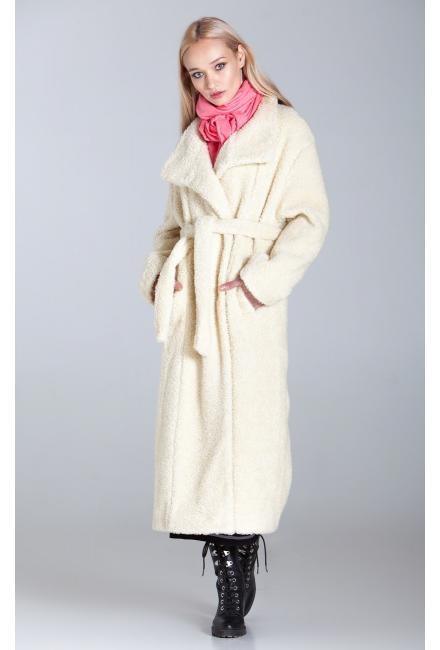 Зимнее удлиненное пальто-шубка из итальянской шерсти с поясом, молочное M-524-m