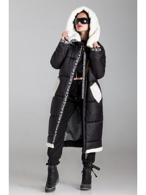 Пальто  утепленное с капюшоном и контрастной меховой отделкой 930