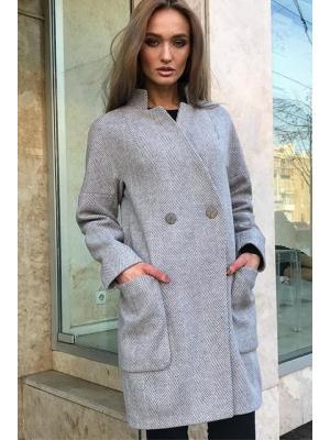 Демисезонное пальто со стойкой и накладными карманами M-797-z