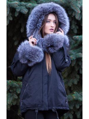 Темно-синяя парка с мехом чернобурки GLEDIS -tsl
