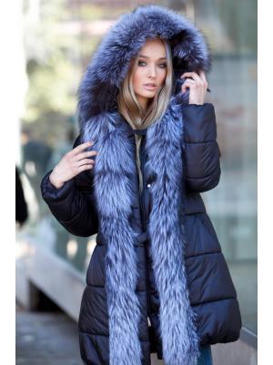 Черная куртка с мехом чернобурки Vladi Mix