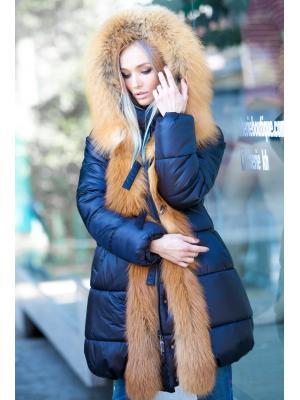 Черная куртка с мехом рыжей лисы Vladi Mix