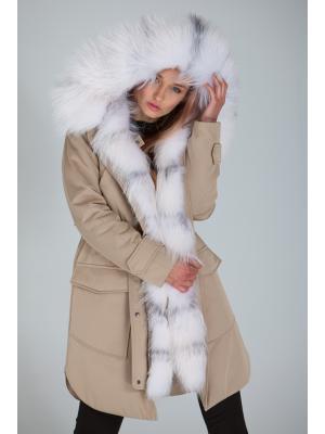 Куртка-парка c мехом арктической лисы Lari M1-beige
