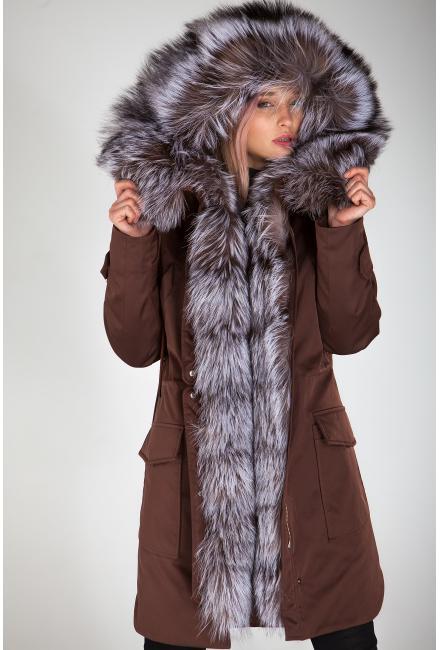 Куртка-парка c мехом чернобурки Lari M1-chocolate